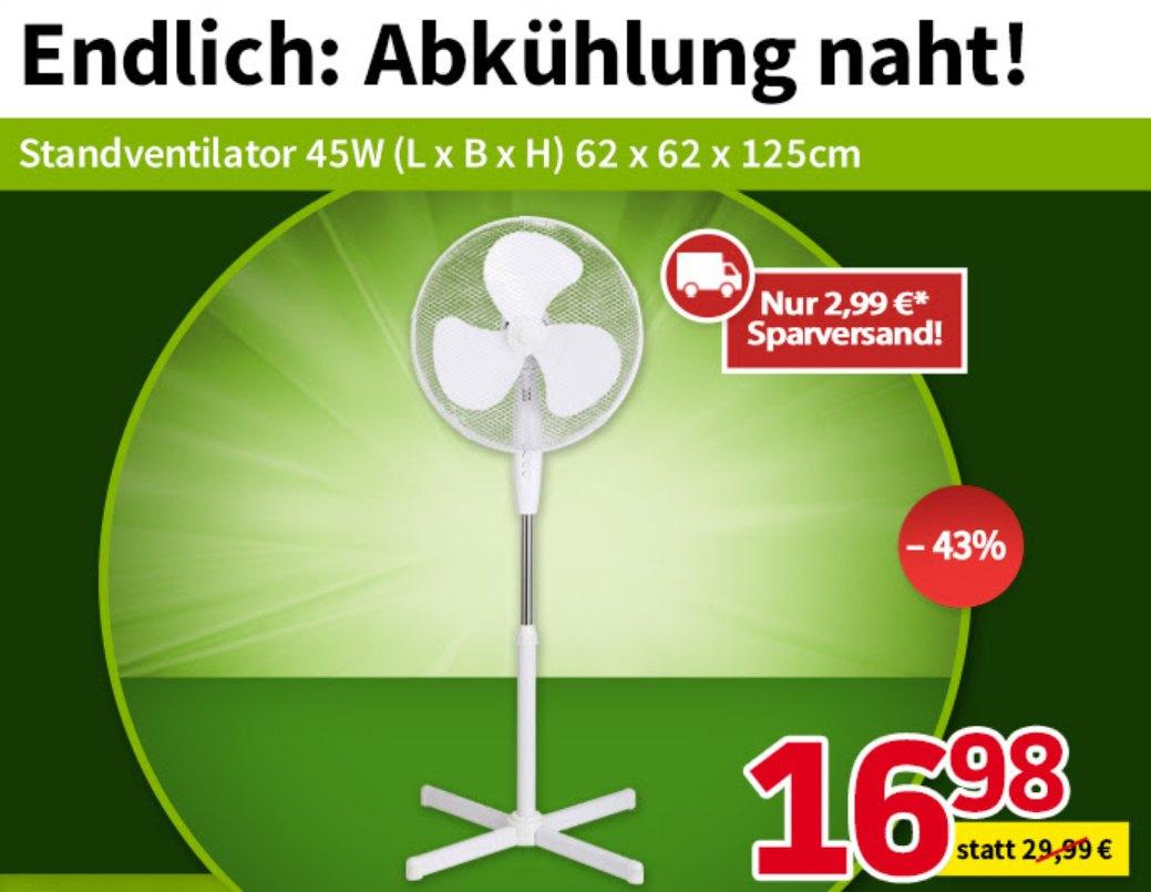 Völkner: Standventilator für 19,97 Euro mit Versand