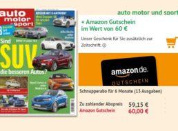Auto Motor Sport: 13 Ausgaben für 59,15 Euro mit Gutschein über 60 Euro