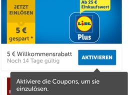 "Gratis: Lidl-Gutschein über 5 Euro via ""Lidl Plus""-App"