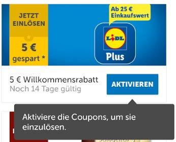 Lidl Plus: 5 Euro Discounter-Coupon ab 25 Euro Warenwert
