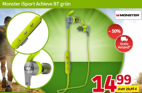 """Völkner: Bluetooth-Kopfhörer """"Monster iSport Achieve"""" für 14,99 Euro"""
