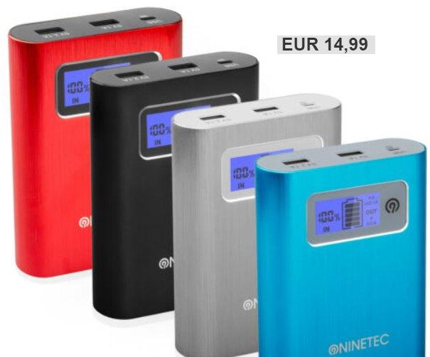 Ninetec: Powerbank mit 64 GByte Speicher und 13.400 mAh für 14,99 Euro