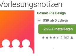 """Gratis: App """"Vorlesungsnotizen"""" bei Google Play zum Nulltarif"""