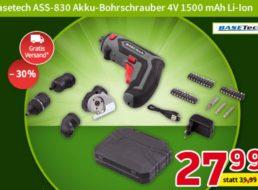 Völkner: Akku-Schraubendreher Basetech ASS-830 für 27,99 Euro frei Haus