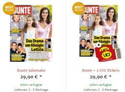 """Gratis: 2 Kinogutscheine zum """"Bunte""""-Jahresabo für 29,90 Euro"""