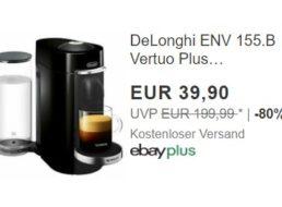 Ebay: Kapselmaschine DeLonghi ENV 155.B Vertuo Plus zum Bestpreis von 39,90 Euro