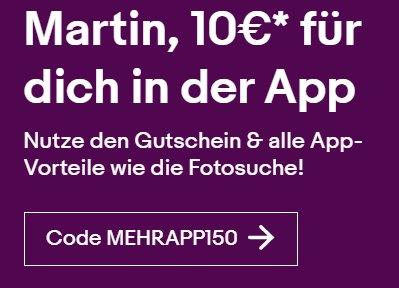 Ebay: Gutschein über 10 Euro via App für ausgewählte Kunden