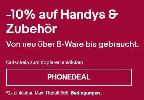 Ebay: Zehn Prozent Rabatt auf Handys und Zubehör