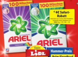 Lidl: Vier Euro Rabatt beim Kauf von zwei 100er-Packs Ariel