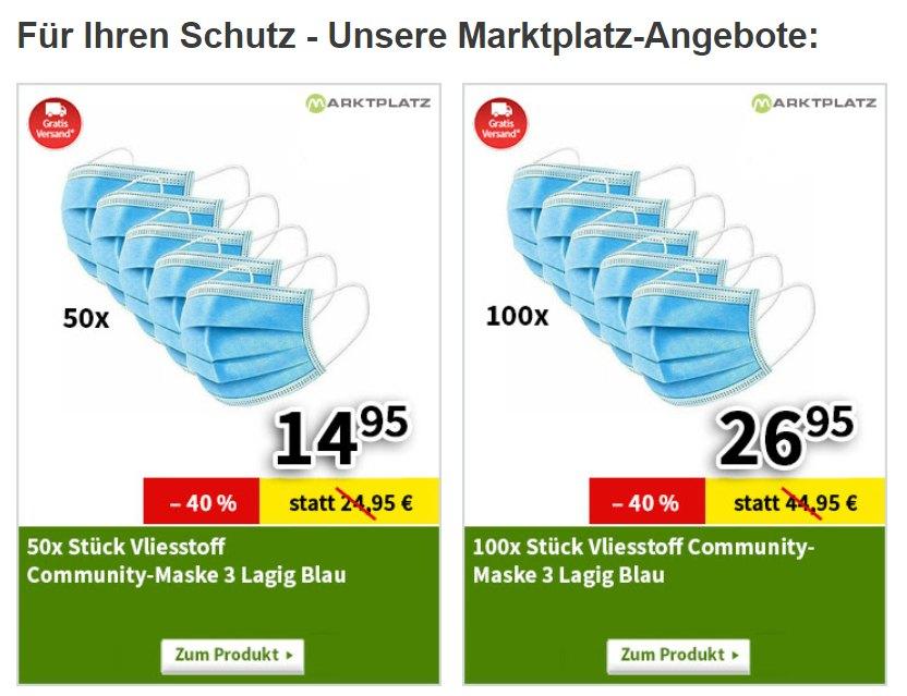 Völkner: 100er-Pack Masken für 26,95 Euro frei Haus, 50er für 14,95 Euro