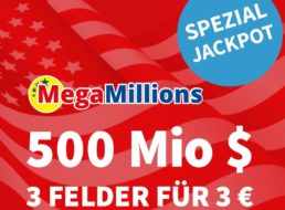 Megamillions: Drei Felder für 3 statt 9 Euro, Jackpot bei 500 Millionen