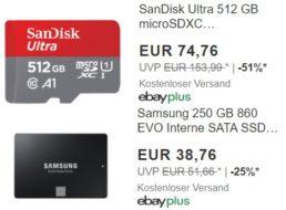 Ebay: Micro-SDXC mit 512 GByte für 74,76 Euro, SSD für 38,76 Euro
