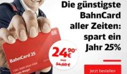 Knaller: BahnCard25 jetzt für 24,90 statt 54,60 Euro