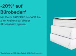 Ebay: 20 Prozent Büro-Rabatt bis Mittwoch