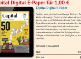 Knaller: Capital-Jahresabo als ePaper für 1 Euro, per Paypal zahlbar