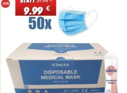Dealclub: 50er-Pack Masken inklusive Sagrotan-Handgel für 9,99 Euro frei Haus