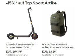 Ebay: 15 Prozent Rabatt auf Outdoor- und Reise-Artikel