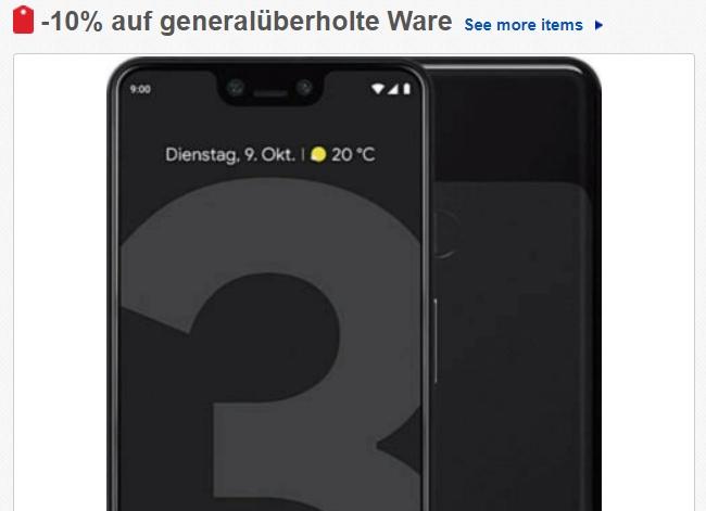 Ebay: Google Pixel 3 XL als B-Ware für 215,10 Euro frei Haus