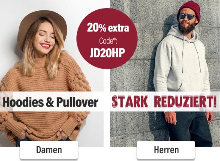 Jeans Direct: Hoodies und Pullover ab 13,99 Euro dank Gutschein