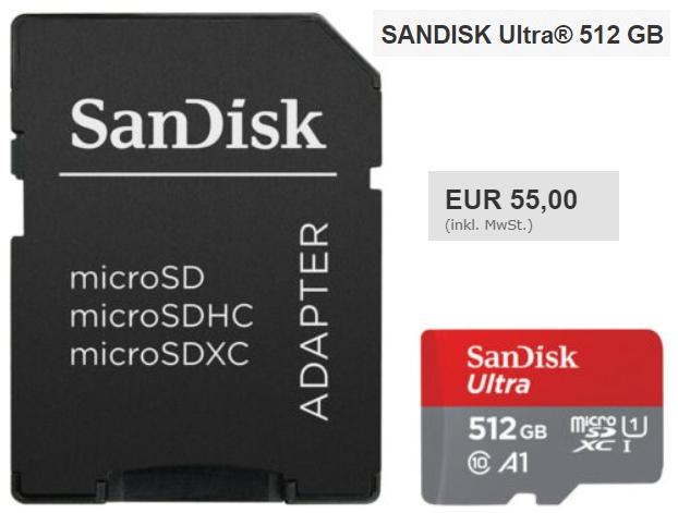 Ebay: Sandisk Ultra MicroSDXC mit 512 GByte für 55 Euro frei Haus