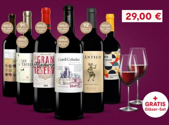Vinos: 6 x goldprämierter Rotwein & 2 Gläser für 29,23 Euro