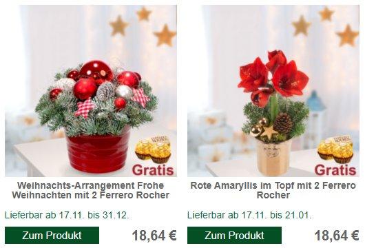 FloraPrima: Weihnachtliche Blumensträuße ab 16,61 Euro mit Gutschein