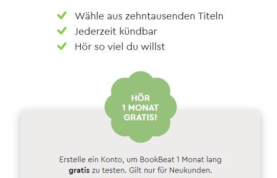 """Gratis: Hörbuch-Flatrate """"BookBeat"""" für einen Monat zum Nulltarif"""