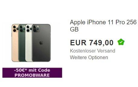 Ebay: iPhone 11 Pro mit 256 GByte als B-Ware für 699 Euro frei Haus