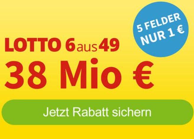 Lotto: Jackpot bei 38 Millionen, fünf Felder ab einem Euro