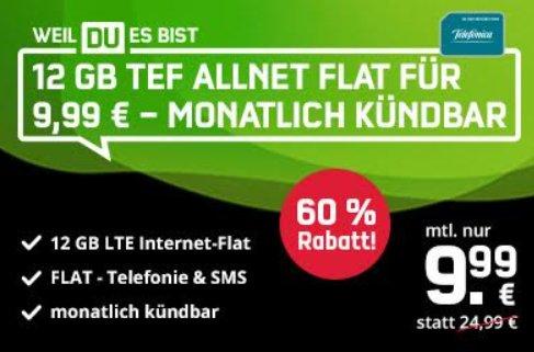 Knaller: Monatlich kündbare LTE-Allnet-Flat mit 12 GByte für 9,99 Euro