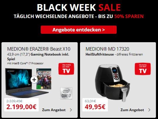 Medion: Black Week mit Technik-Schnäppchen ab 1,90 Euro