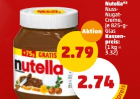 Penny: Nutella zum Aktionspreis mit Option auf Zehnfach Payback-Punkte