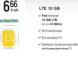 Smartmobil: Monatlich kündbare LTE-Flat mit 10 GByte für 6,66 Euro