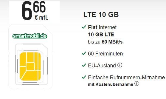 Smartmobil: Monatlich kündgbar LTE-Flat mit 10 GByte für 6,66 Euro