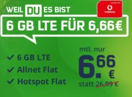 Vodafone: Allnet-Flat mit 6 GByte für 6,66 Euro