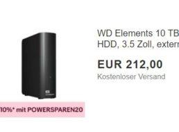 Ebay: Western Digital Elements mit 10 TByte für 190,80 Euro frei Haus