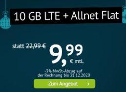 Handyvertrag.de: LTE-Flat mit zehn GByte & Allnet-Flat für 9,99 Euro