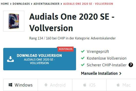 """Gratis: """"Audials One 2020 SE"""" beim Chip-Adventskalender gratis"""