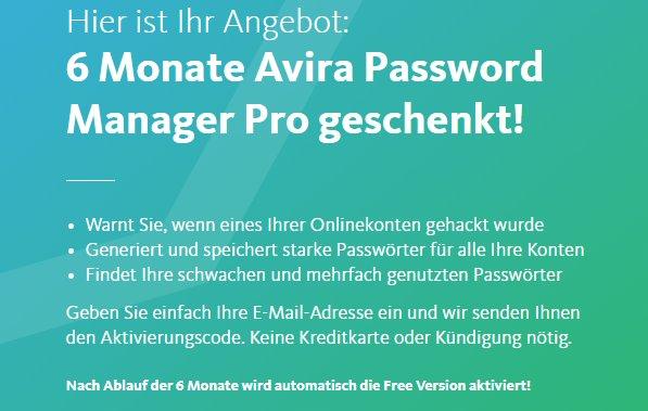 Gratis: Avira Passwort Manager Pro für 6 Monate kostenlos