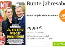 Bunte: Jahresabo für 29,90 statt 202,80 Euro