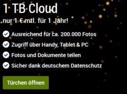Cloud-Offerte: 1 TByte bei GMX und Web.de für 1 Euro / Monat
