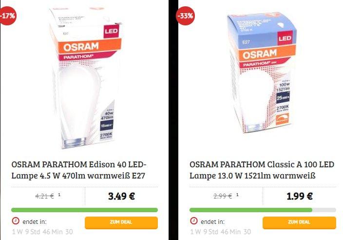 Osram: LED-Leuchtmittel bei Osram ab 1,49 Euro plus Versand