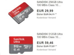 Ebay: Sandisk-microSDXC in zwei Versionen mit Rabatt