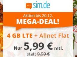 Sim.de: Allnet-Flat mit vier GByte LTE-Daten für 5,99 Euro
