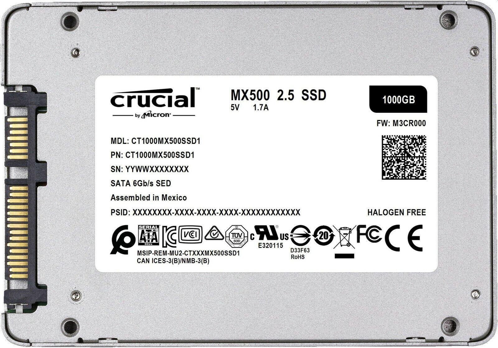 Ebay: Crucial MX500 SDD mit 1000 GByte für 88 Euro frei Haus