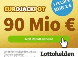 Euro-Jackpot: Rekordstand von 90 Millionen Euro am Freitag