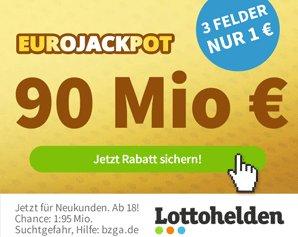 Euro-Jackpot: Rekordsumme von 90 Millionen Euro, 3 Felder für 1 Euro