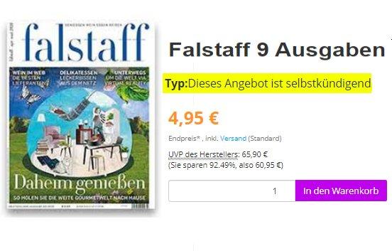 Falstaff: Jahresabo mit automatischem Ende für 4,95 Euro