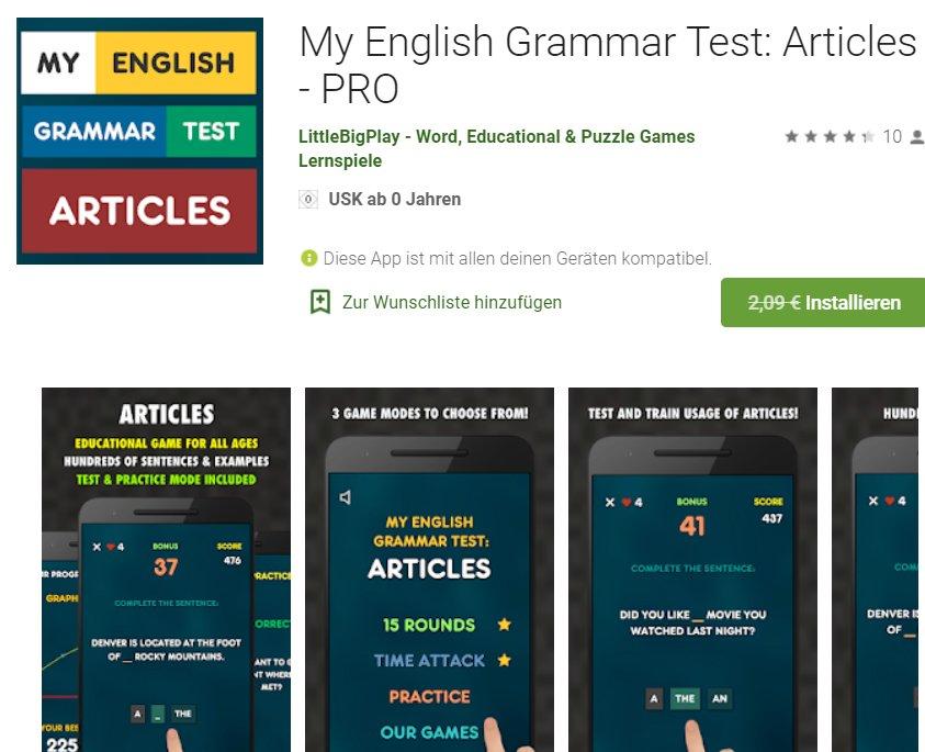 """Gratis: App """"My English Grammar Test Articles Pro"""" für 0 Euro"""