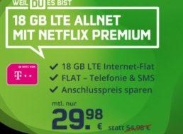 Knaller: 18 GByte LTE im Telekom-Netz mit Netflix Premium für 29,98 Euro